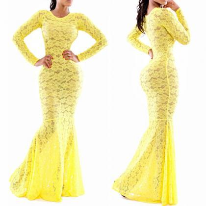 Sale Sexy Women's Fashion Long Sleeve Round Neck Hollow Lace Slim Fit Dovetail Maxi Prom Dress Party Evening Dress