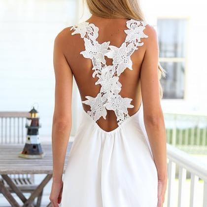 Women Sexy White Deep V Hollow Lace Crochet Cross Strap Sleeveless Summer Holiday Beach Dress