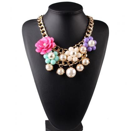 Women's Valentine's Day Jewelry Gift Fashion Gemstone Faux Pearl Flower Statement Metallic Chain Party Wear Necklace