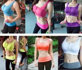 2015 Sale Fashion Women's Sexy Bandage Seamless Front Zipper Yoga Training Gym Sports Bra Crop Vest Top