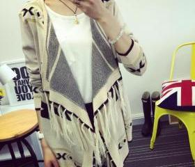 Women's Fashion Loose Knitted Casual Aztec Cardigan With Fringing One Size