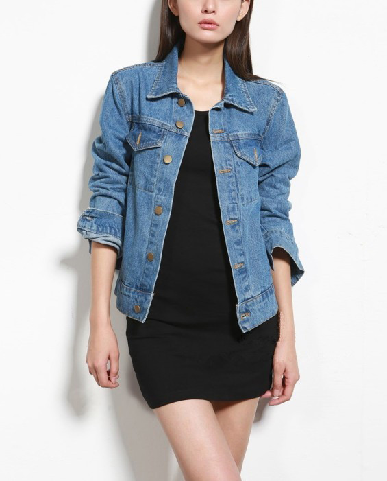 Medium Washed Denim Jacket Featuring Button Down Front and Side Pockets