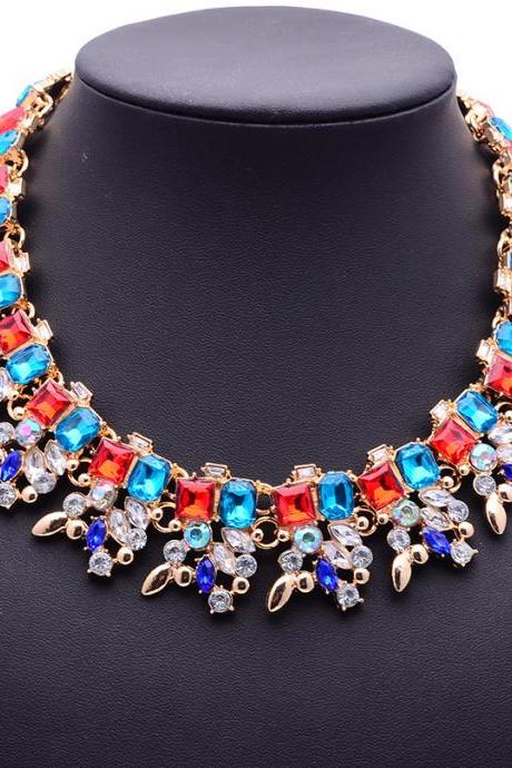 Women's Valentine's Day Jewelry Gift Retro Luxry Colorful Diamond Gemstone Party Wear Necklace