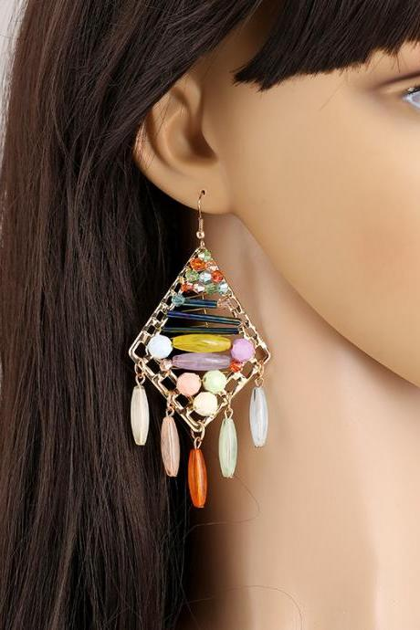 Western Bohemia Fashion Handmade Colorful Geometric Diamond Waterdrop Gemstone Crystal Beads Tassel Women's Hook Earrings