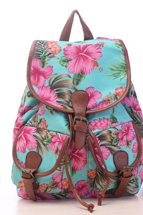 Hibiscus Flower Tropical Print Canvas Backpack
