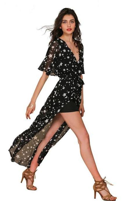 Star Print Black Chiffon Plunge V Short Sleeve Maxi Dress Featuring High Slit