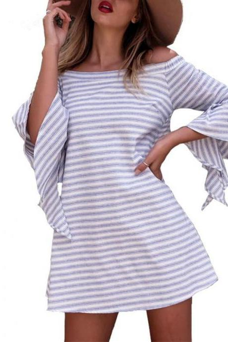 Blue and White Striped Off-The-Shoulder Flared Ruffled Sleeve Mini Skater Dress