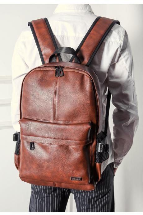 Preppylook Back to School Solid Color Casual Outdoor Sports PU Leather Backpack College Students School Backpack