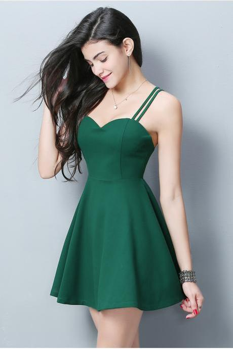 Emerald Green Strappy Sweetheart Short Skater Dress