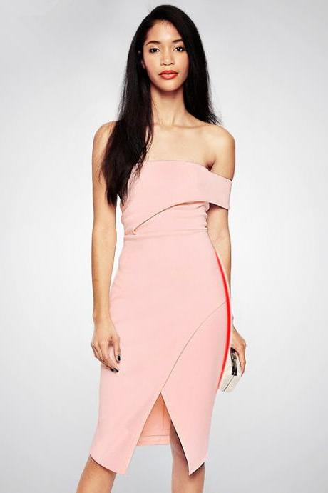 Pink One-Shoulder Short Bodycon Dress Featuring High Slit