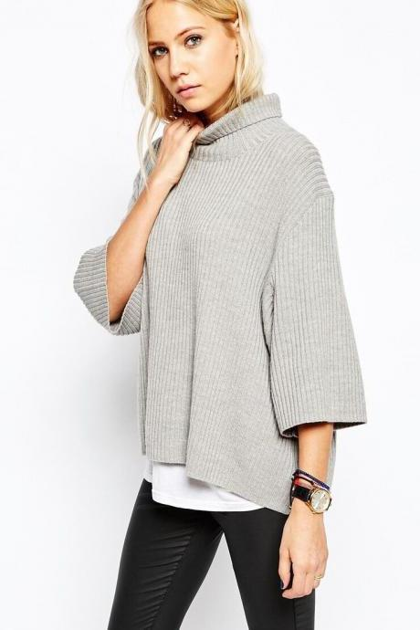 Free Shipping Women's Gray Turtle Neck Knitted Casual Sweater