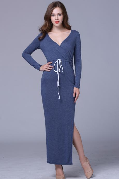 Women's Fashion Long Sleeve V-Neck Drawstring Waist One Side Split Casual Cotton Maxi Dress